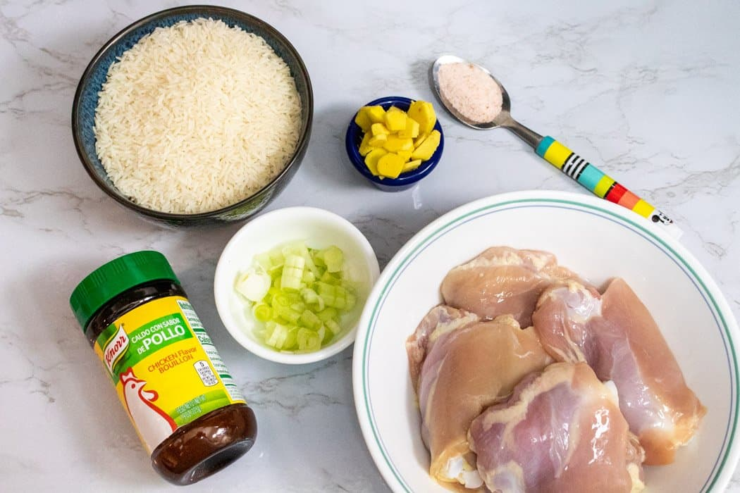 picture of ingredients required to make Instant pot chicken congee. Jasmine rice, ginger, broth, chicken, salt and green onions( optional).