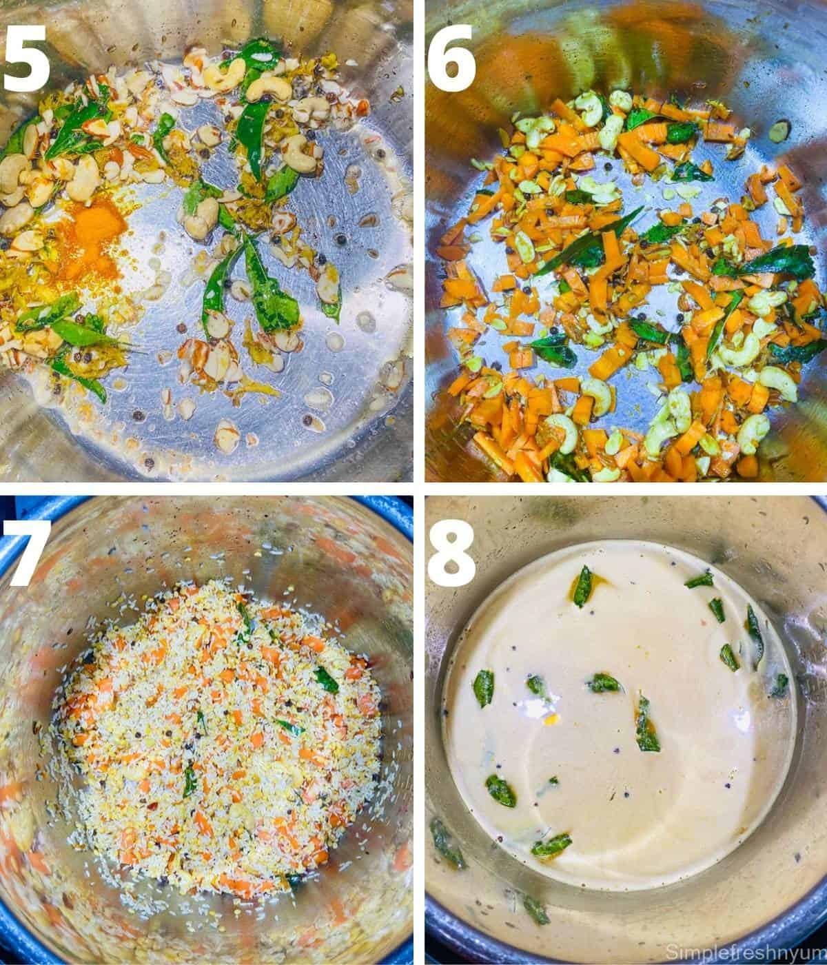 Next four Step by Step pictures for Recipe of Pongal in a collage.