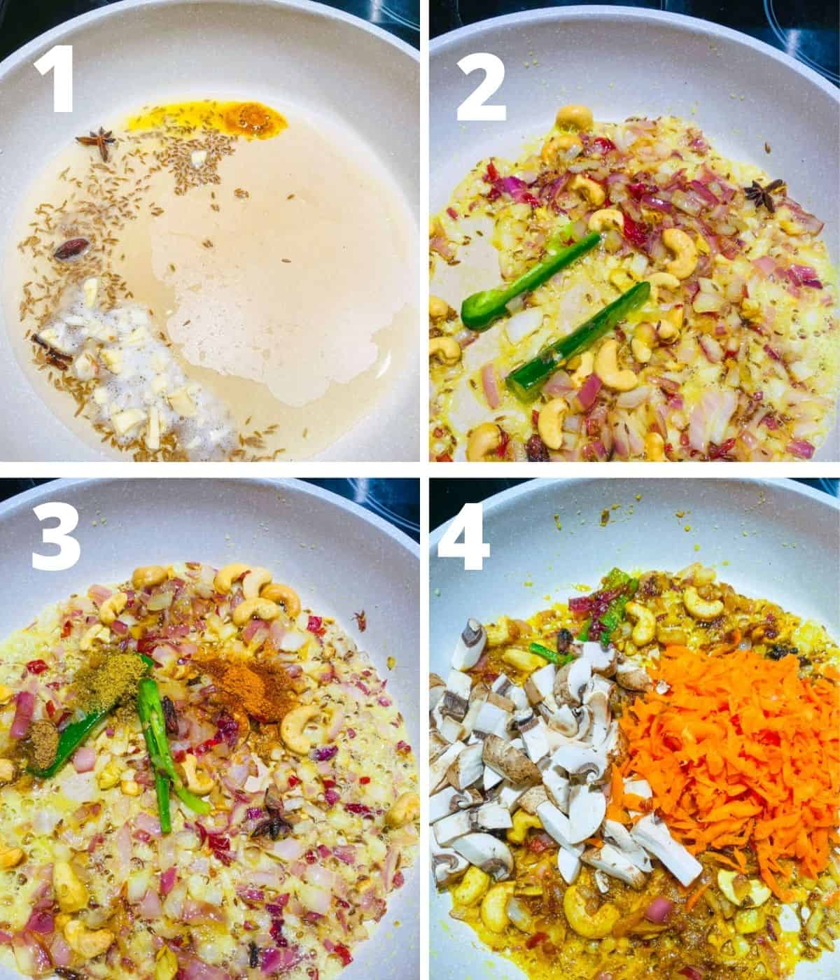 Picture collage of first four steps of Kale rice step by step images. This gallery shows until adding grated carrots and mushrooms.