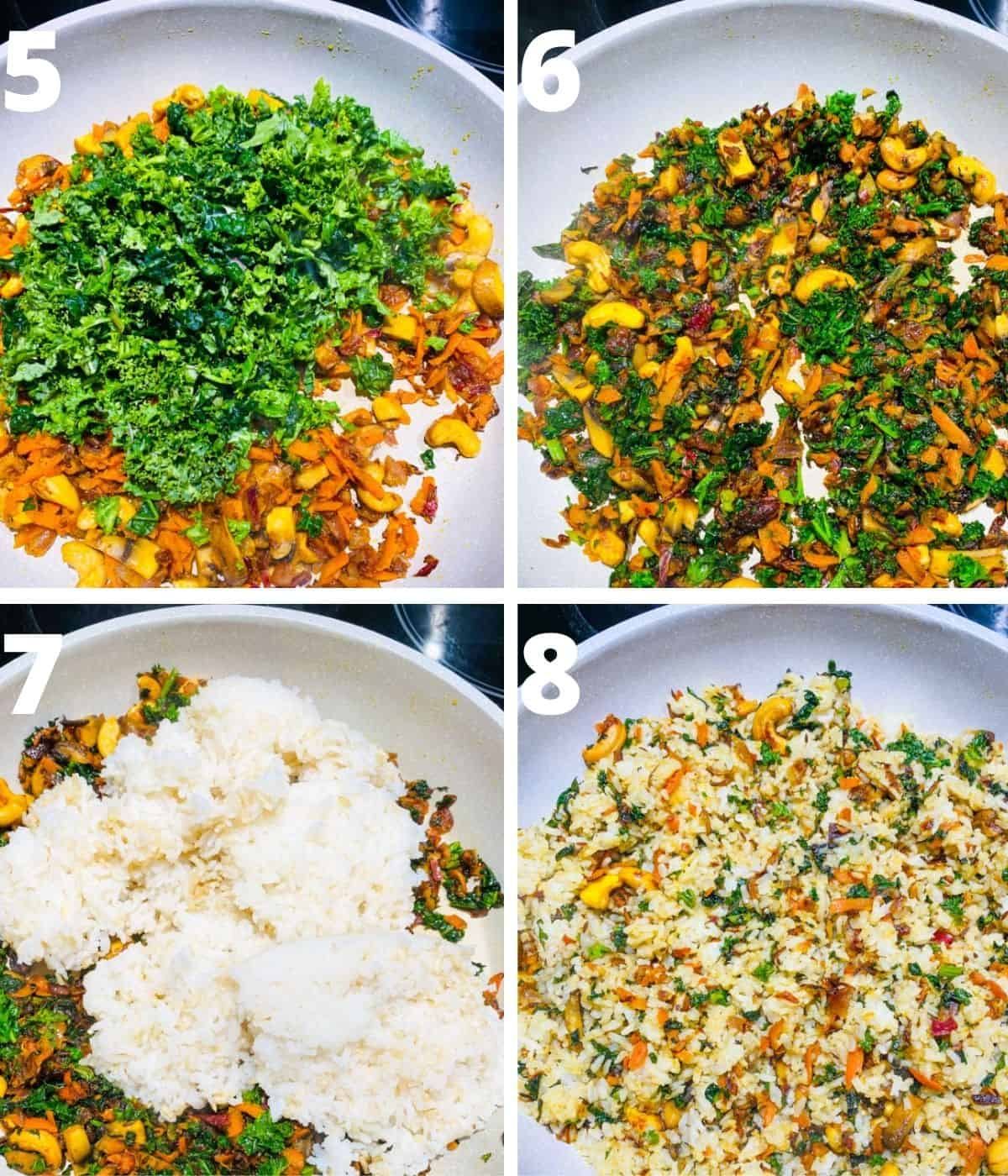 Picture collage of Kale rice step by step images. This gallery shows from adding kale to finishing kale rice.