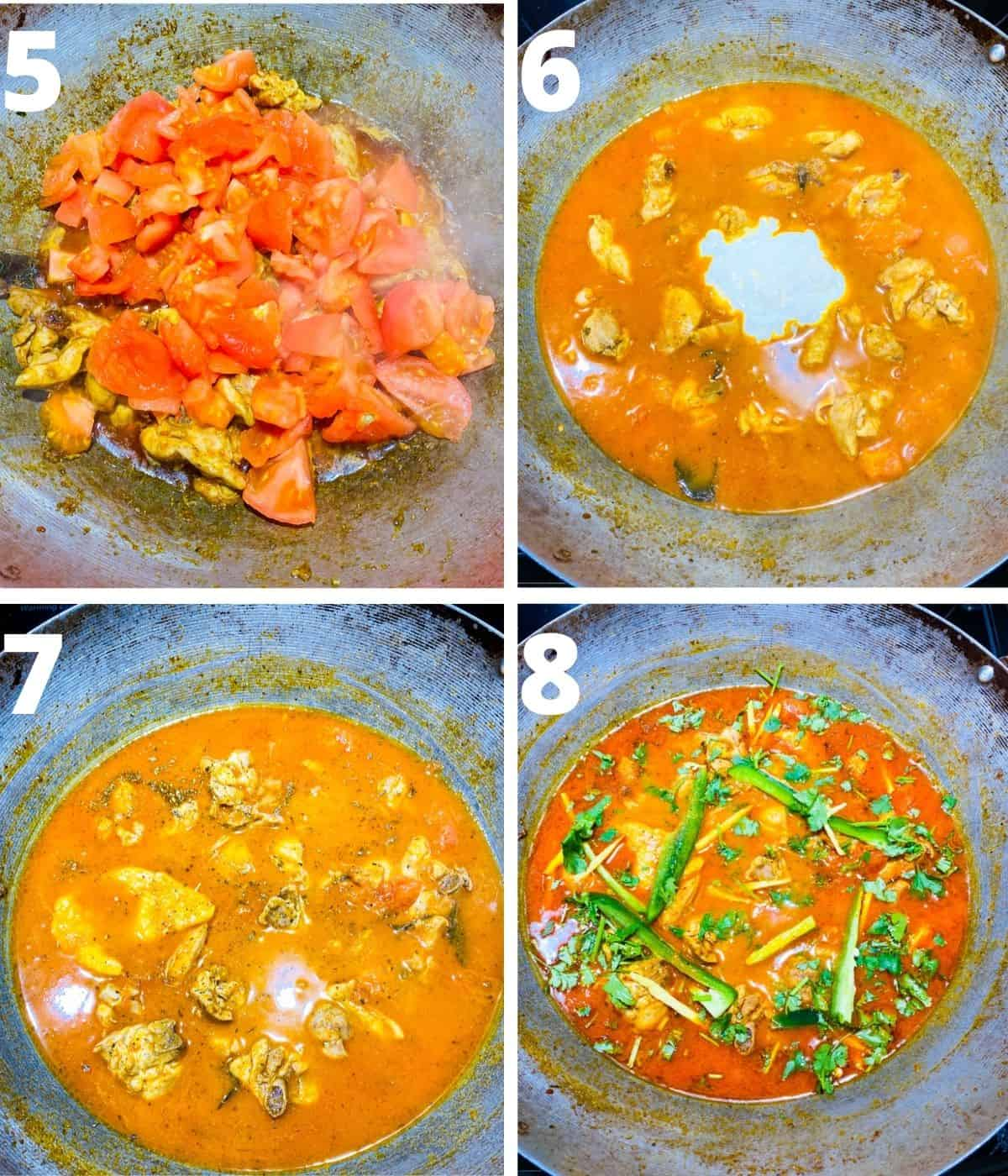 Collage of last four step by step images to make chicken karahi. This collage coversfrom adding tomatoes till the end.