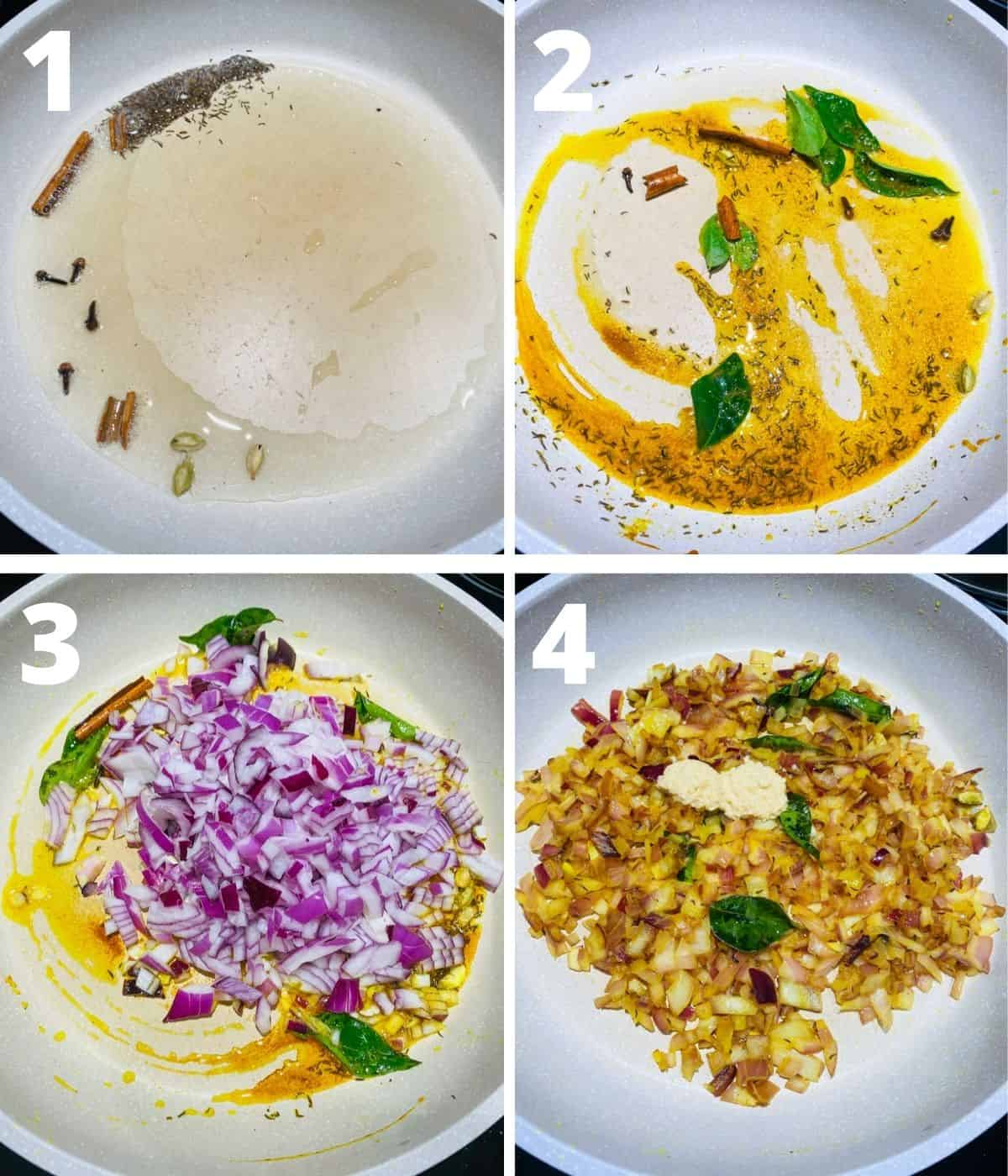 Step by step image collage of Aloo Kheema Matar. This collage covers until adding ginger garlic paste.