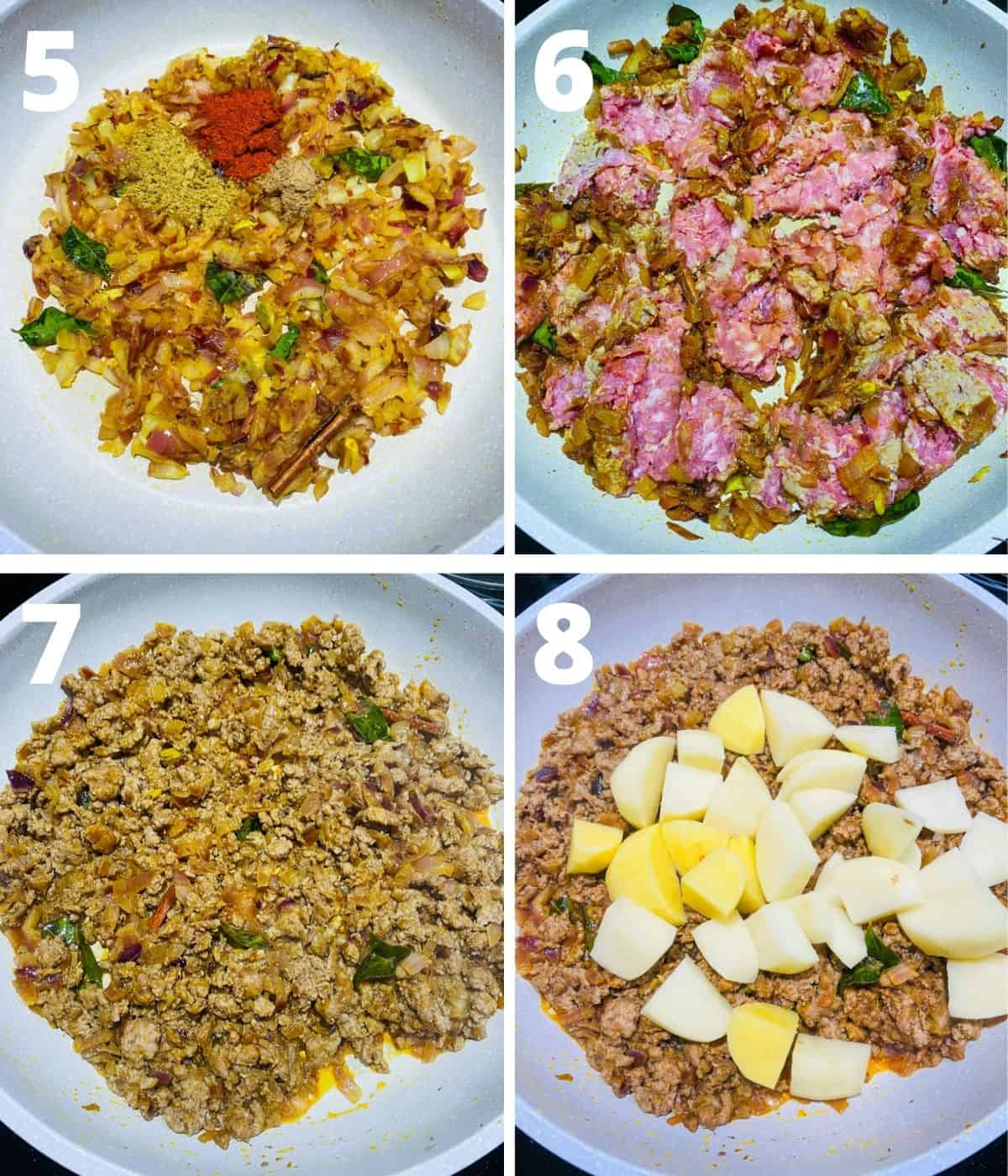 Step by step image collage of Aloo Kheema Matar. This collage covers until adding potatoes to the kheema.