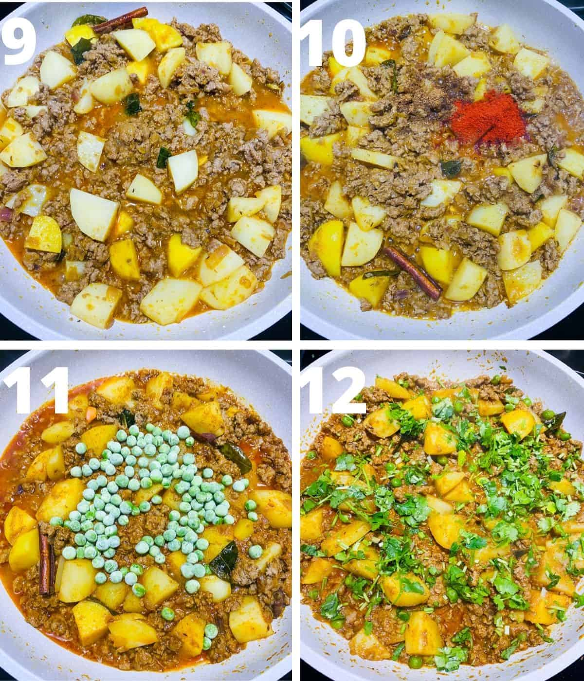 Step by step image collage of Aloo Kheema Matar. This collage covers until the end, i.e.. garnishing with cilantro