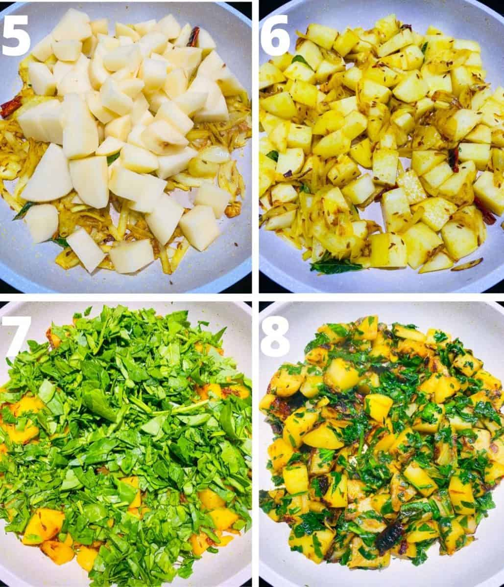 Collage image of Aloo palak recipe. This shows the steps 5 to 8 from adding potatoes to finishing the dish.