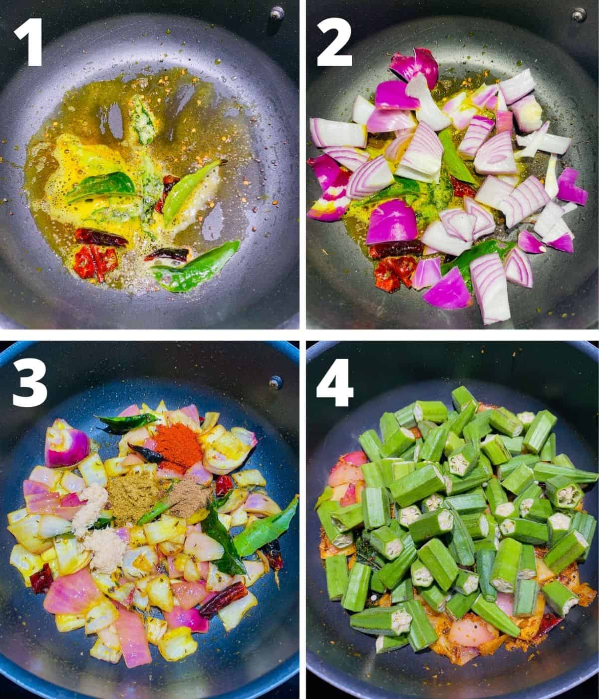 Step by step collage image for making Bendakaya pulusu. This collage shows first 4 steps upto adding Okra i.e. bendakaya into the curry.
