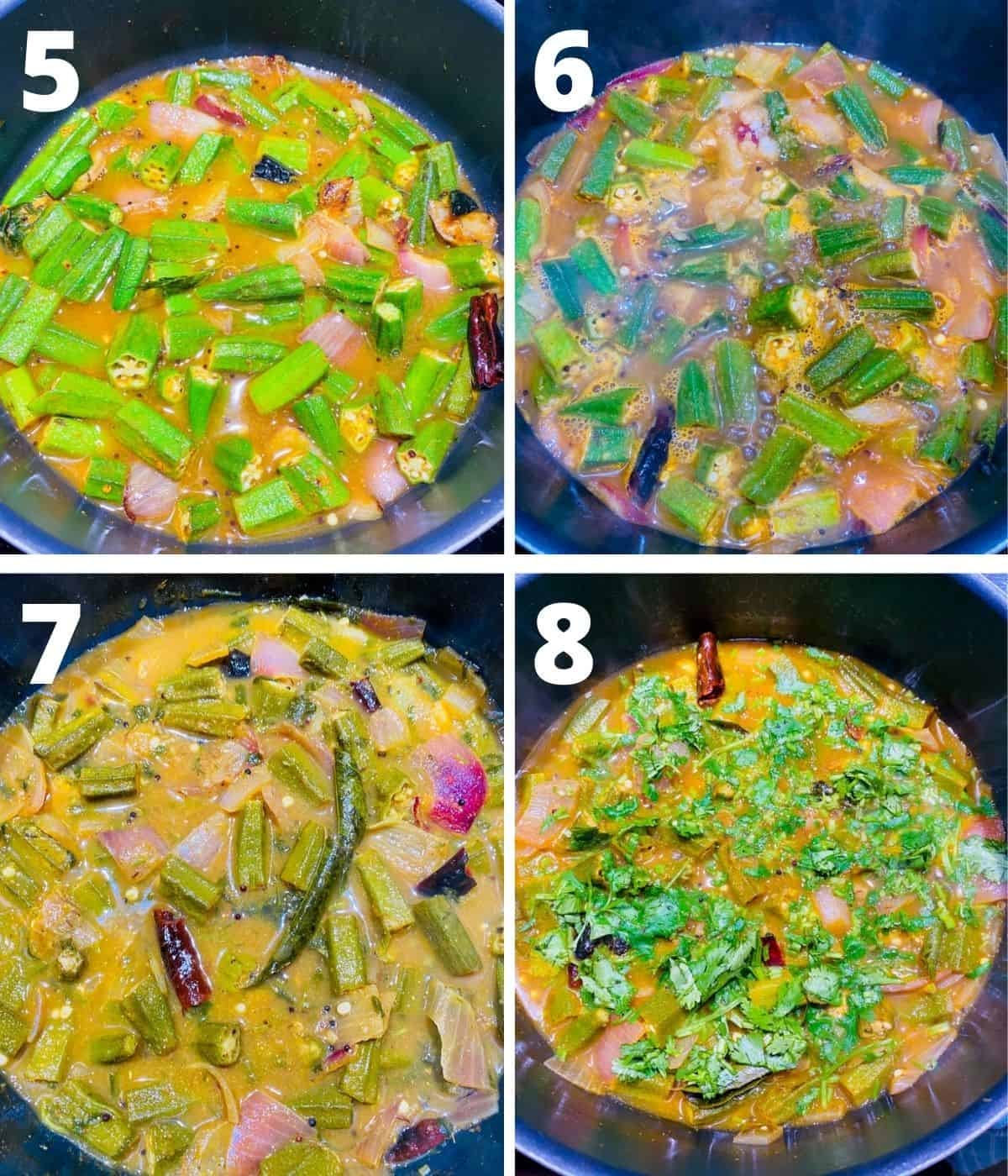 Step by step collage image for making Bendakaya pulusu. This collage shows last 4 steps upto adding Cilantro and finishing the curry.
