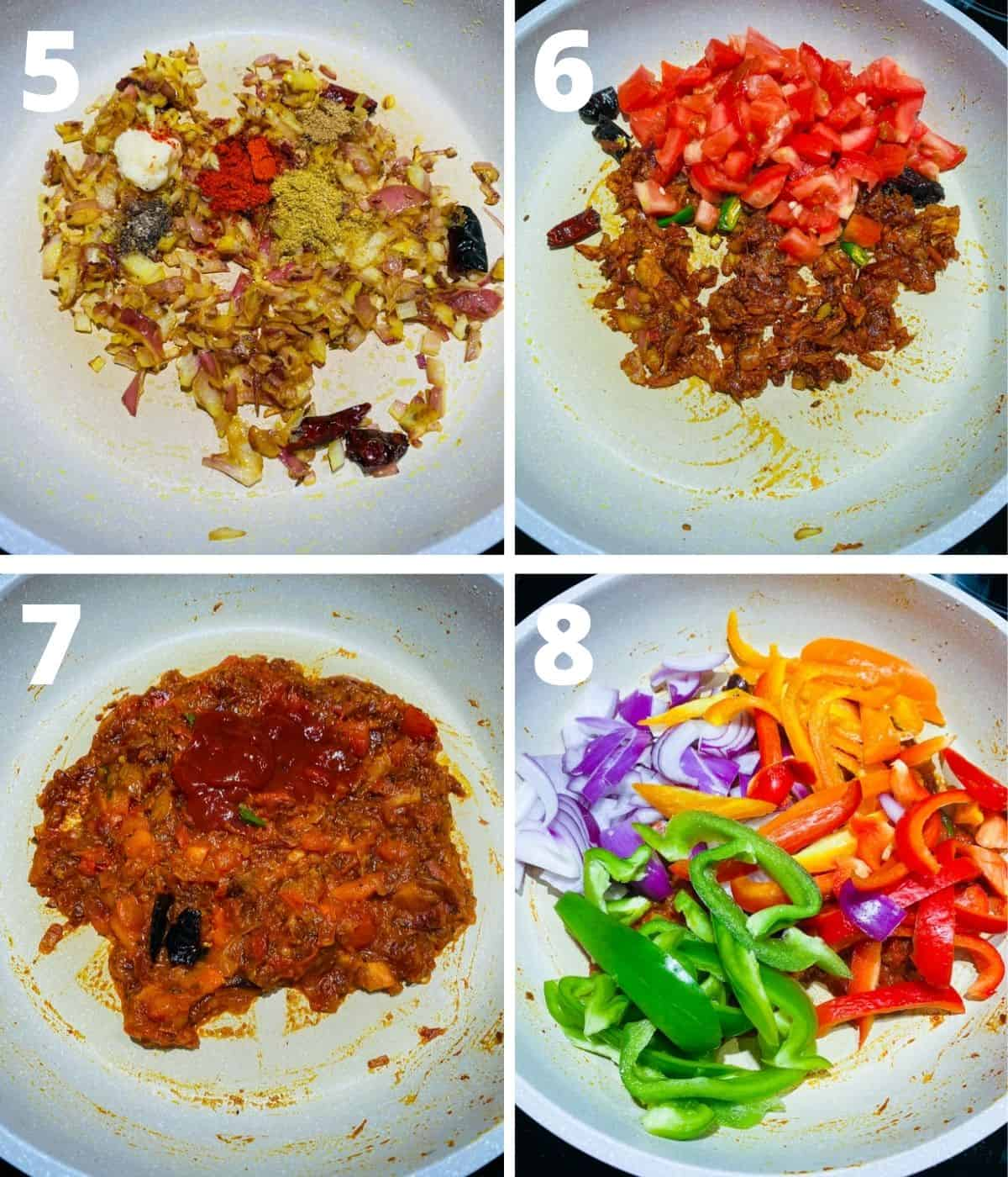 Step by Step picture collage of How to make Paneer Jalfrezi. This collage covers steps until adding vegetable strips.