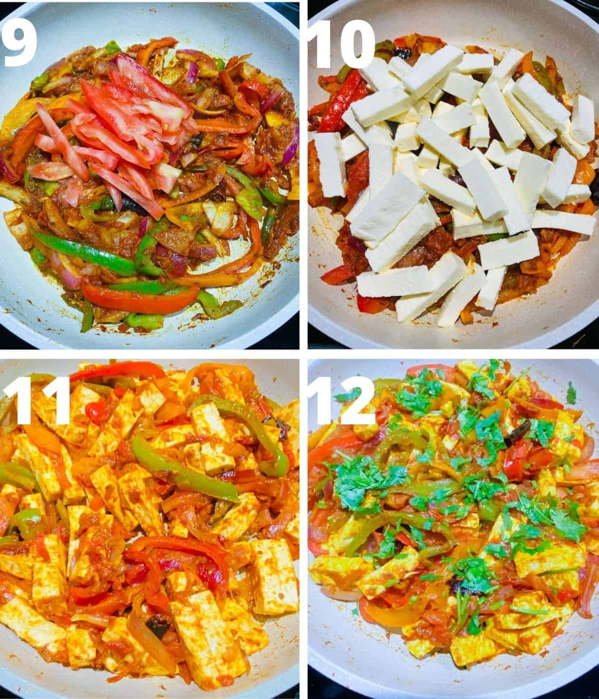 Step by Step picture collage of How to make Paneer Jalfrezi. This collage covers until finishing of the dish by adding cilantro.