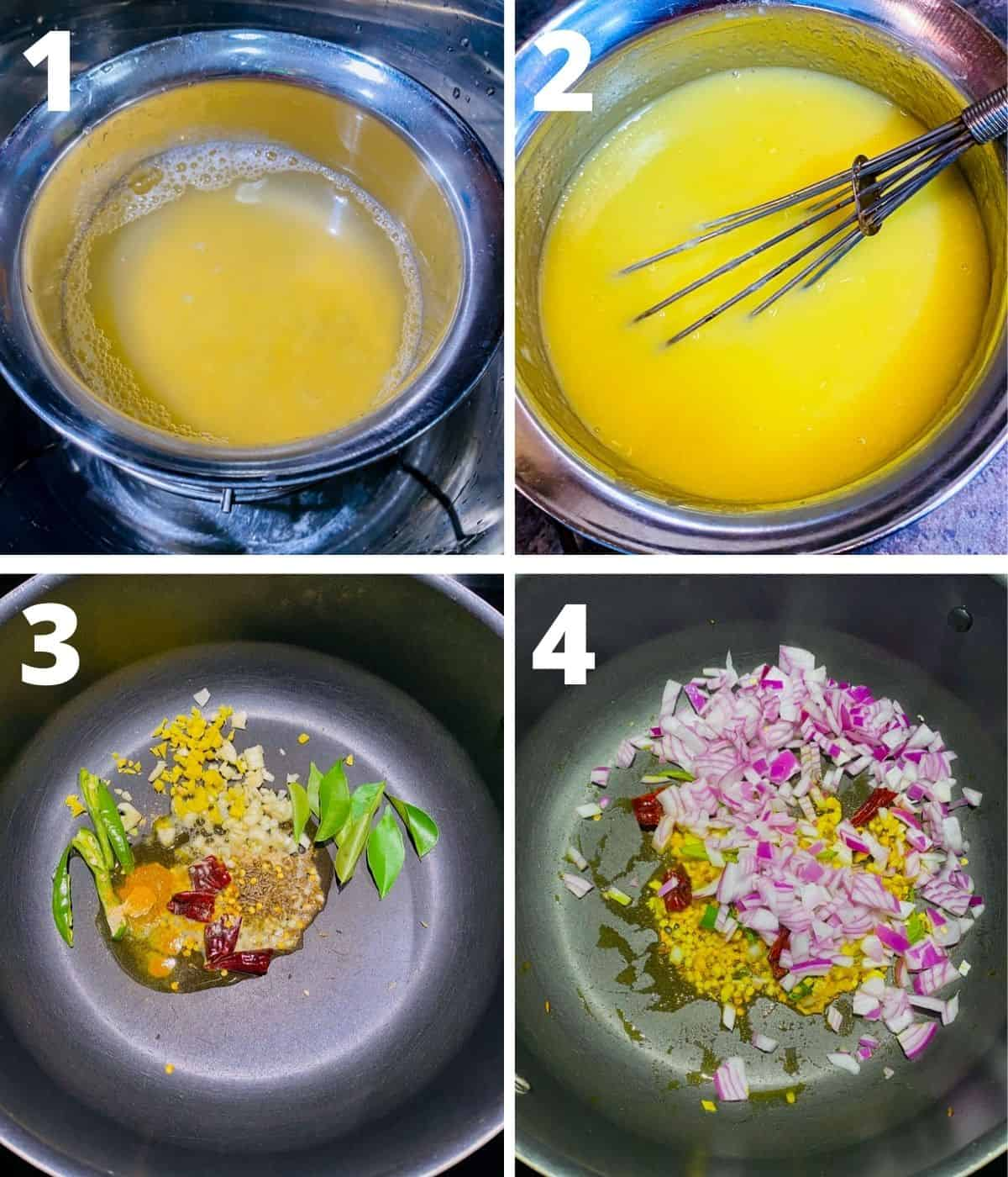 Step by step images collage of making spinach dal. This collage covers until adding onions.