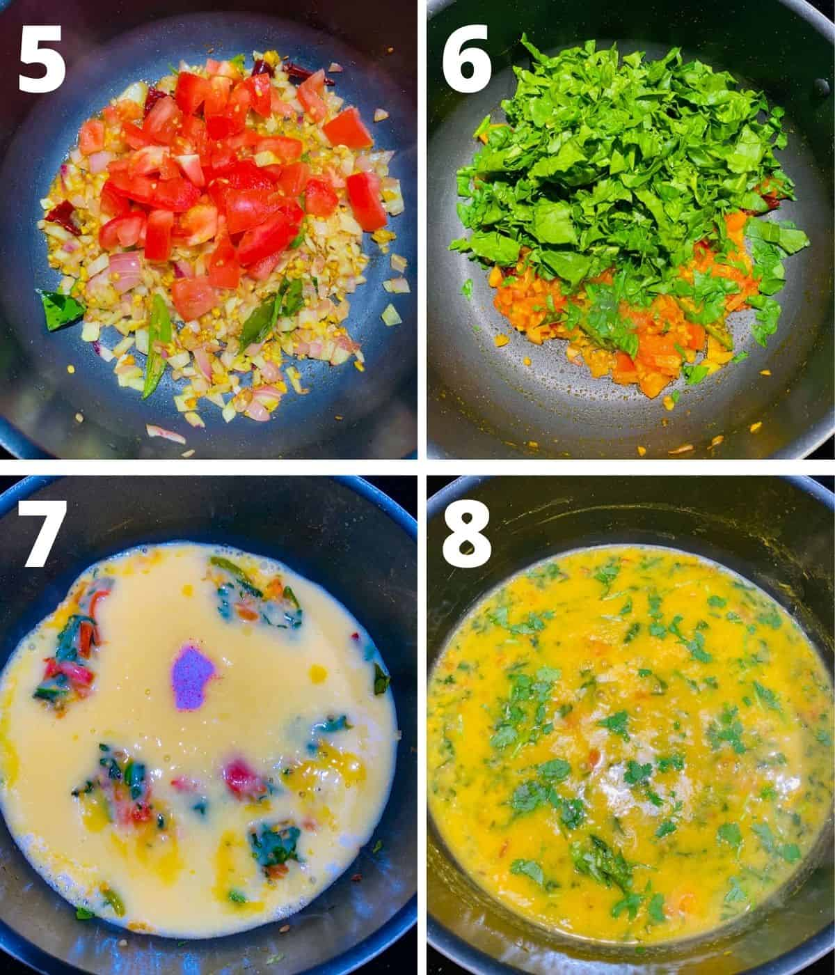 Step by step images collage of making spinach dal. This collage shows steps from adding tomatoes until adding the cilantro and lemon juice