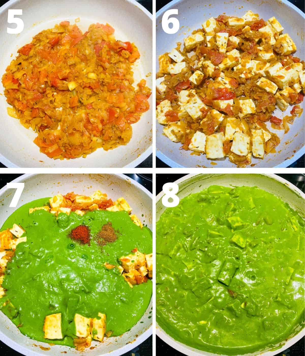 Step by Step image collage of last 4 pictures of how to make Palak Paneer.