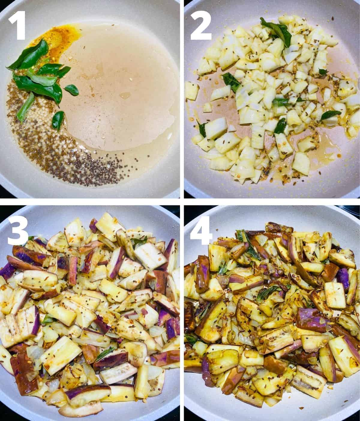 This is a 4 picture collage showing first four steps of making brinjal fry i.e upto cooking brinjal for some time before adding the spice paste.