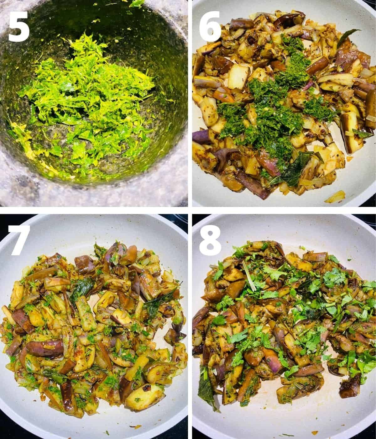 This is a 4 picture collage showing last four steps of making brinjal fry, which are making spice paste, adding it to the curry, cook for few mins then garnish and turn off heat.