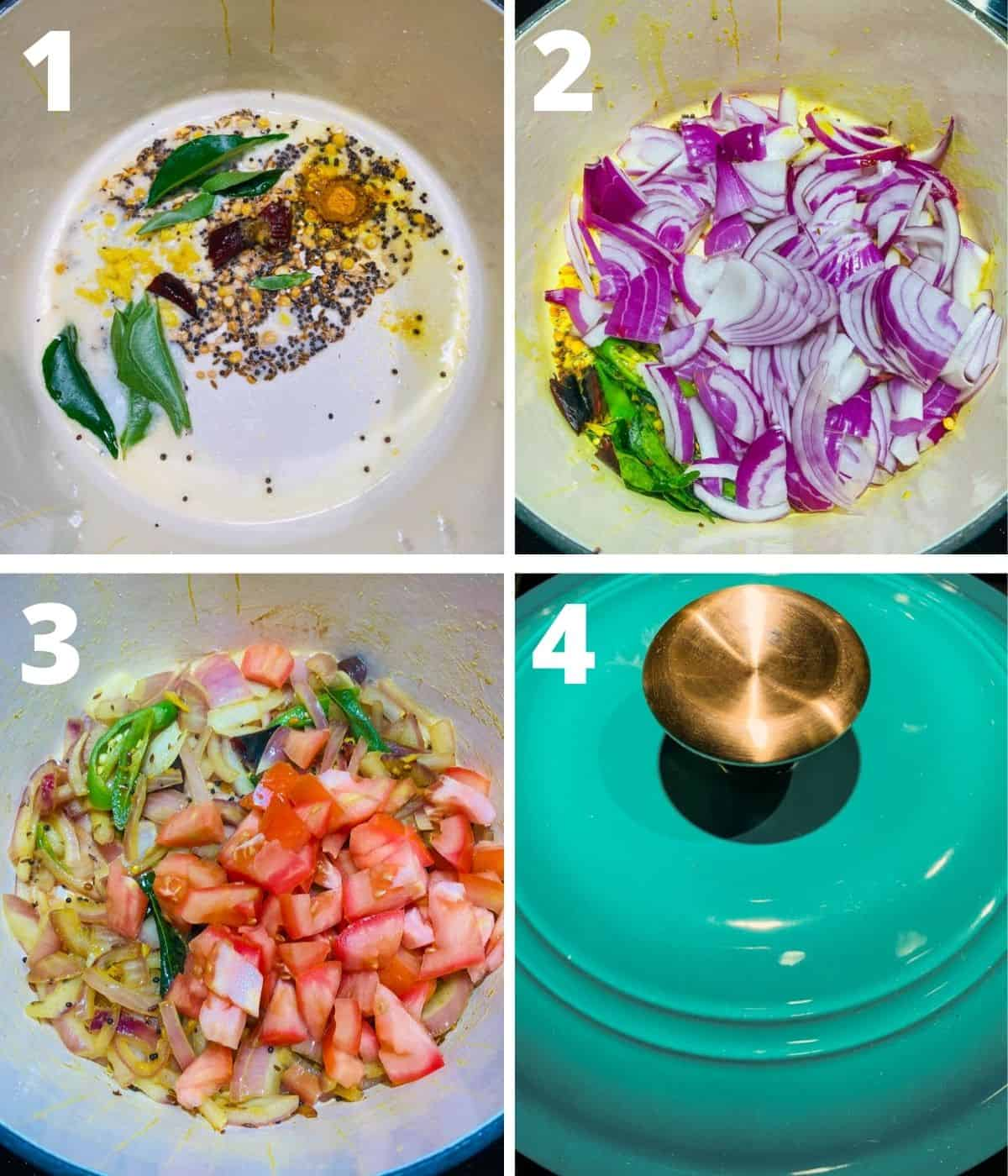 This image shows the collage of step by step pictures for making bombay chutney. This image shows the first 4 steps until cooking the tomatoes with lid closed.