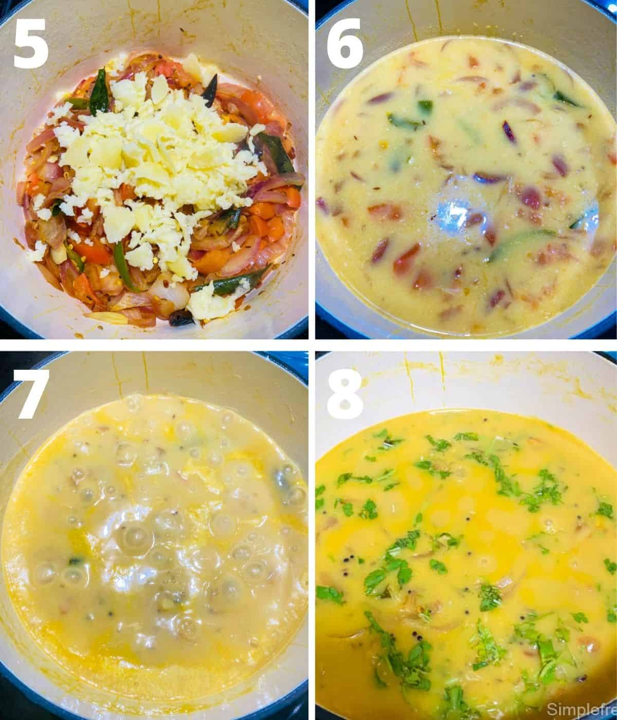 This image shows the collage of step by step pictures for making Bombay chutney. This image shows the last 4 steps until the chutney is ready to serve with cilantro on top.